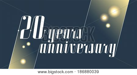 20 years anniversary vector icon,  logo. Graphic design element with lettering and festive fireworks for 20th anniversary ceremony