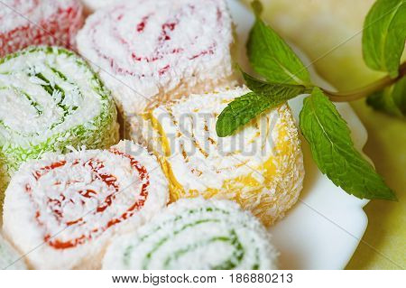 weet and tasty turkish delight. cooking. delicious