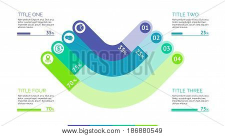 Four angles percentage chart. Business data. Comparison, diagram, design. Concept for infographic, presentation, report. Can be used for topics like analysis, statistics, training.