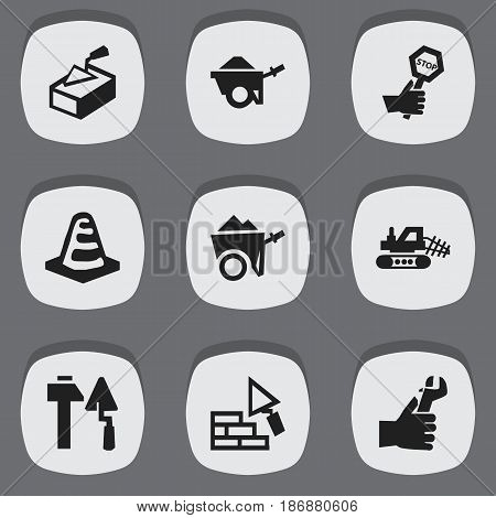 Set Of 9 Editable Construction Icons. Includes Symbols Such As Spatula, Notice Object, Mule And More. Can Be Used For Web, Mobile, UI And Infographic Design.
