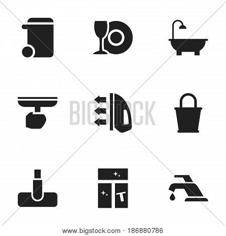 Set Of 9 Editable Cleaning Icons. Includes Symbols Such As Bathroom, Hoover, Pail And More. Can Be Used For Web, Mobile, UI And Infographic Design.
