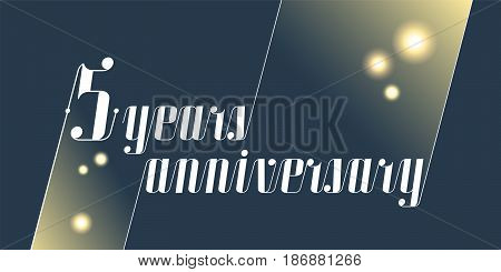 5 years anniversary vector icon logo. Graphic design element with lettering and festive fireworks for 5th anniversary ceremony