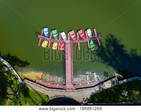 The boats in an amusement park Yunost in Kaliningrad view from above