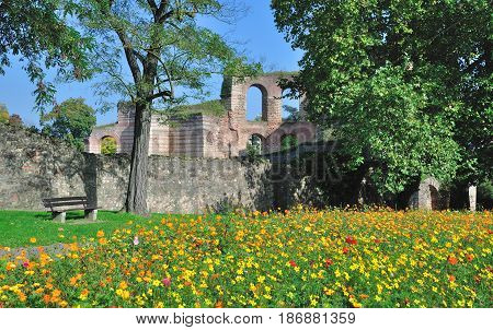 the ruins of historic roman Baths in Trier,Mosel Valley,Germany