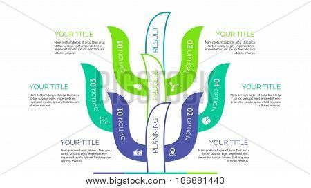 Six branches of tree process chart slide template. Business data. Option, diagram, design. Creative concept for infographic, presentation. Can be used for topics like planning, statistics, research.