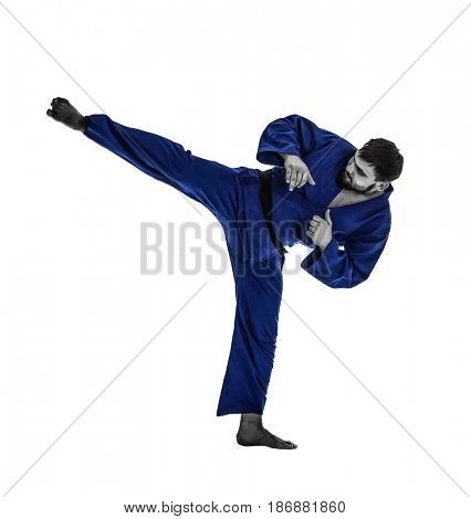 Martial arts concept. Young sporty man in kimono on white background