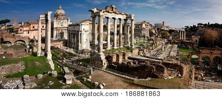 panorama of the Roman Forum Foro Romano and Ruins of Septimius Severus Arch and Saturn Temple in Rome, Italy