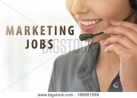 Marketing jobs concept. Female dispatcher working in office
