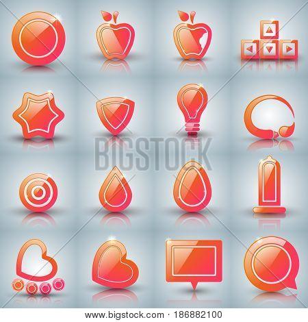 Set icon - apple, arrows, drop, water, heart rollerskates egg brush bulb star condom target