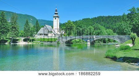 Sveti Janez Church at Lake Bohinj in Triglav national Park,Slovenia