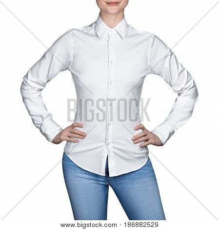 Girl in white blouse, on isolated white background