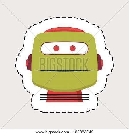 robot head with dot lines for cut