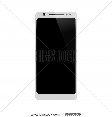 White smartphone. Smart phone isolated on white background. Mobile phone with blank screen. Vector illustration.