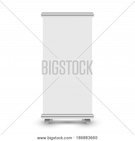 Roll-up banner display isolated on white background. Blank roll up banner stand template. Vector illustration.
