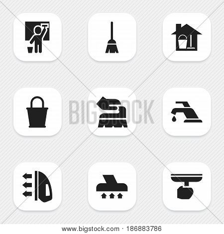 Set Of 9 Editable Cleanup Icons. Includes Symbols Such As Broomstick, Brush, Faucet And More. Can Be Used For Web, Mobile, UI And Infographic Design.