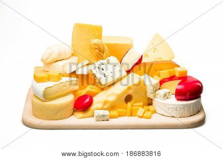 Cheese cheese plate cheese platter cheese tray cheese board isolated on white wooden platter