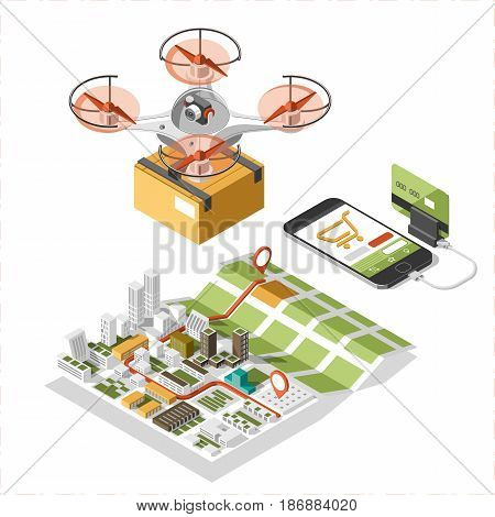 Drone with a box flying in the sky. Modern delivery of the package by flying quadcopter. Vector isometric Illustration of the express package delivery