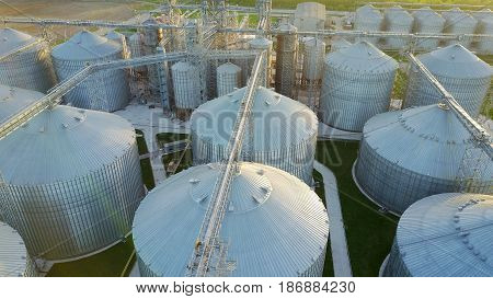 Bird's eye view of granaries and elevators - an aerial photo