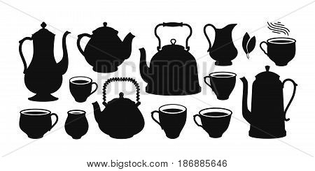 Tea set, silhouette. Kettle, teapot, cup, creamer icon or symbol. Vector illustration isolated on white background