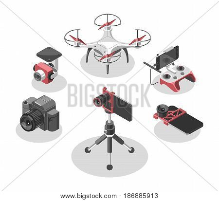 Vector Illustration with quad copter and remote control. Drone, controller, fish eye lens, camera holder, professional camera. Devices set on white background. Isometric style.