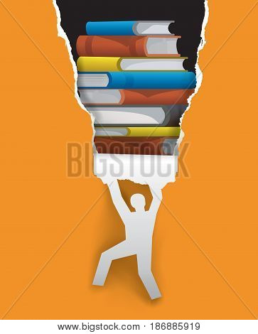 Discover good literature concept. Stylized  male silhouette ripped paper background with book. Vector available.