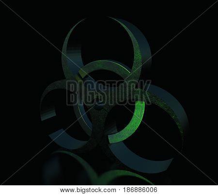 Metal biohazard sign on black background, 3D illustration