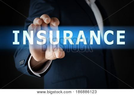 Insurance concept. Businessman holding word in hand, closeup