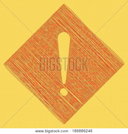 Attention sign illustration. Vector. Red scribble icon obtained as a result of subtraction rhomb and path. Royal yellow background.