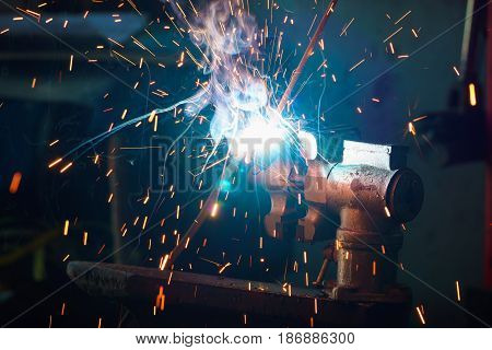 Welding process for metal close-up, industrial concept