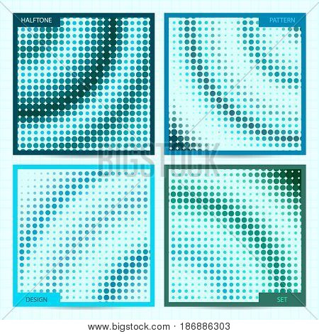 Set Of Square Cards With Halftone Patterns In Aquamarine Colors. Vector Business Templates For Flyer