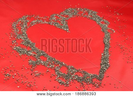 Chia seeds/ This is a chia seeds - heart.