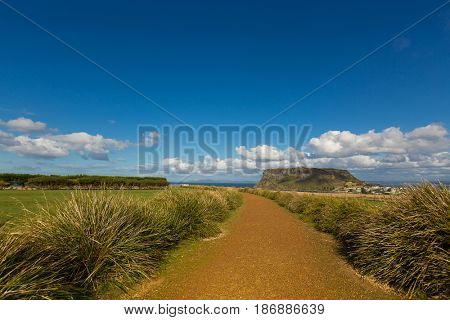 Beautiful flat pathway leading to the Nut lookout. The Nut is an old volcanic plug of basalt with the height of 143 meters rising from the ocean, Tasmania Australia