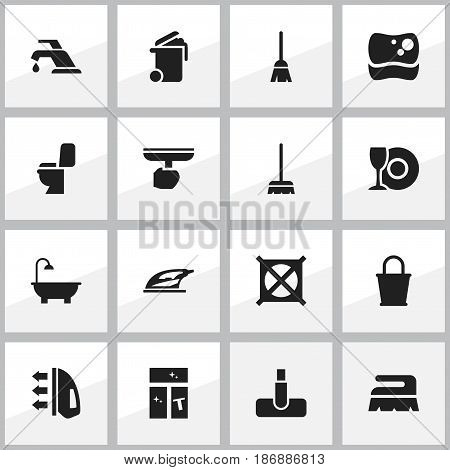 Set Of 16 Editable Dry-Cleaning Icons. Includes Symbols Such As Sweep, Appliance, Brush And More. Can Be Used For Web, Mobile, UI And Infographic Design.