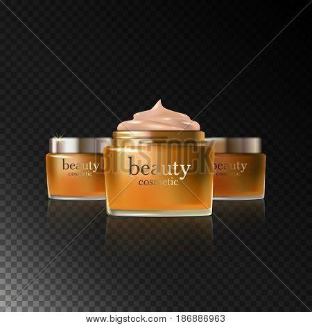 Beauty cosmetic product gold cream ads, package or liquid. 3D vector illustration on dark transparent background isolated. Stock vector.