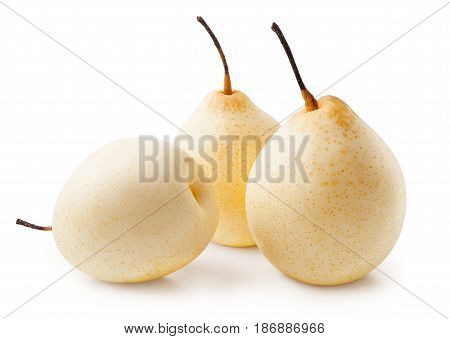 Isolated pears. Chinese pears isolated on white background with clipping path