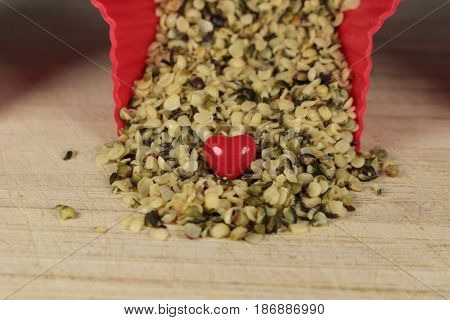 Hemp seeds/ These are hemp seeds with red heart.