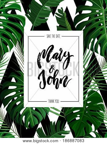 Tropical vertical design with green exotic palm leaves seamless pattern and wedding save date invitation. Vector illustration stock vector.