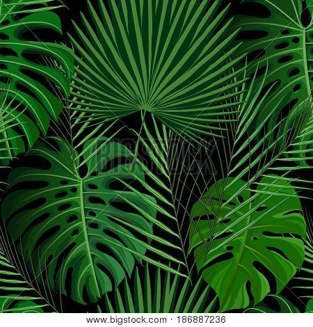 Seamless pattern with green tropical exotic palm leaves on abstract black background. Fabric, wrapping paper print. Vector illustration stock vector.