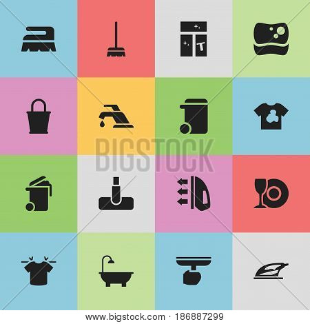 Set Of 16 Editable Cleanup Icons. Includes Symbols Such As Hoover, Clean T-Shirt, Dustbin And More. Can Be Used For Web, Mobile, UI And Infographic Design.