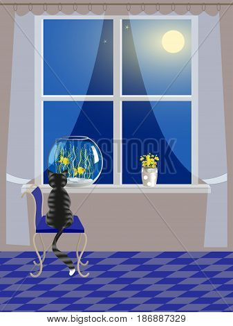 The cat watches the fish in the aquarium on the windowsill, the night sky outside the window, vector illustration