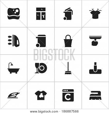 Set Of 16 Editable Hygiene Icons. Includes Symbols Such As Sweep, Washing Tool, Container And More. Can Be Used For Web, Mobile, UI And Infographic Design.
