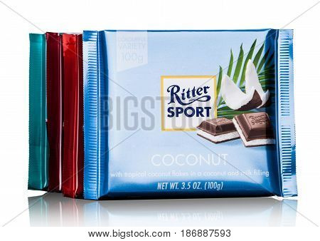 London, Uk - May 15, 2017:  Ritter Sport Milk Chocolate Bars With Coconut  On White. Ritter Sport Ch