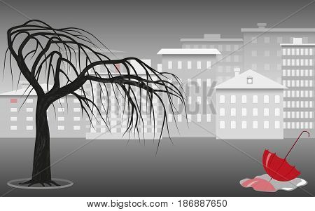 Red umbrella in a puddle against the background of the city landscape in gray tones, tree and houses, vector illustration