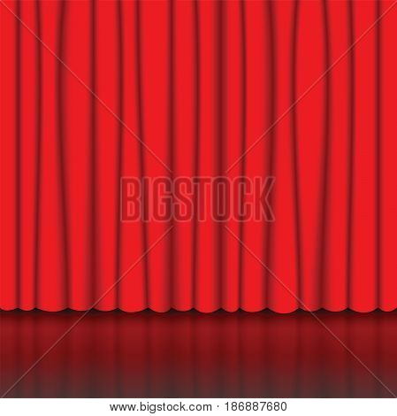 Red curtain on stage. Red drapes. Concert or theatrical background. Vector illustration.