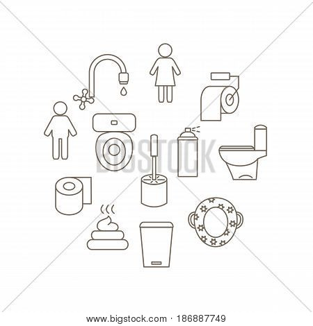 Icons of the toilet room in the style of the outline. Toilet paper trash air freshener brush and a faucet with water. Vector illustration.