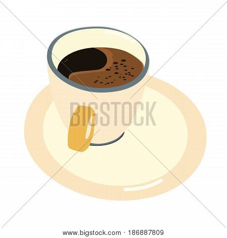 Vector illustration of a cup of coffee with a saucer isolated on a white background