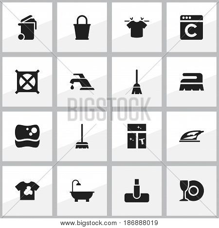 Set Of 16 Editable Hygiene Icons. Includes Symbols Such As Broomstick, Plate, Unclean Blouse And More. Can Be Used For Web, Mobile, UI And Infographic Design.