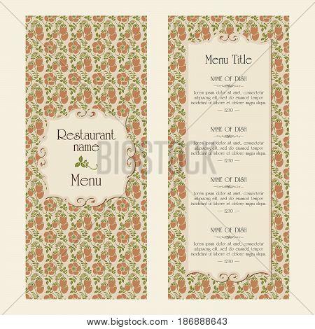Restaurant menu vector design template - retro style