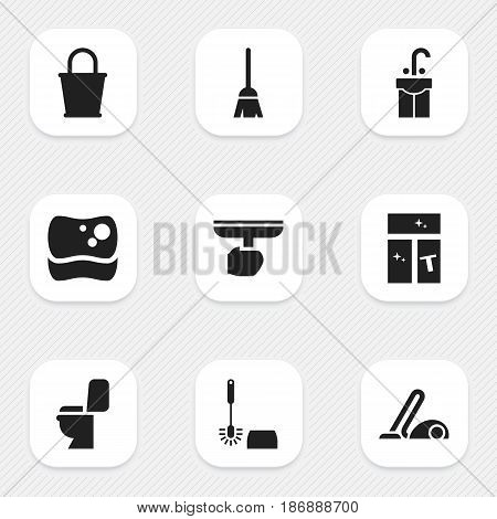 Set Of 9 Editable Dry-Cleaning Icons. Includes Symbols Such As Vacuum Cleaner, Wc Cleaning, Washing Tool And More. Can Be Used For Web, Mobile, UI And Infographic Design.