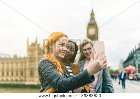 Girls Taking A Selfie With Big Ben In London